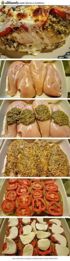 """""""The flavors burst in your mouth from start to finish – fresh tasting & easy to prepare"""" The post Pesto Baked Chicken! """"The flavors burst in your mouth from start . New Recipes, Dinner Recipes, Cooking Recipes, Healthy Recipes, Recipies, Korean Recipes, Quick Recipes, Italian Recipes, Dinner Ideas"""
