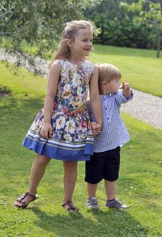 Danish Princess Isabella and Prince Vincent attend the annual Summer photocall for the Royal Danish family at Grasten Castle on 26 July 2013 in Grasten, Denmark.