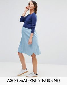 5d1f74cc718 Maternity NURSING Knitted and Chambray Mix Dress