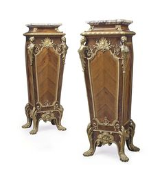 A PAIR OF FRENCH ORMOLU-MOUNTED KINGWOOD AND TULIPWOOD PEDESTALS -  BY FRANCOIS LINKE, PARIS, LATE 19TH CENTURY