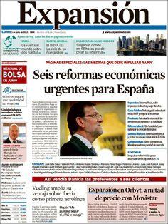 Los Titulares y Portadas de Noticias Destacadas Españolas del 1 de Julio de 2013 del Diario Expansión ¿Que le parecio esta Portada de este Diario Español?