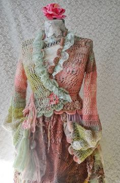 RESERVED FOR I.    Shabby Chic cardigan,bohemian,gypsy,cottage,mori girl,fairy,fae,romantic,ruffles,victorian with lace cardigan Mysterious Garden      Spring-summer cardigan made by crocheting with a very soft and fluffy yarn that it contains: mohair, wool, acryl.Has lace applications.Bind with cords ending in which i applied large hand made tassels.    Unique    Talia S    I recommend hand washing at 30 degrees, and the dryng is best to do on a flat surface…