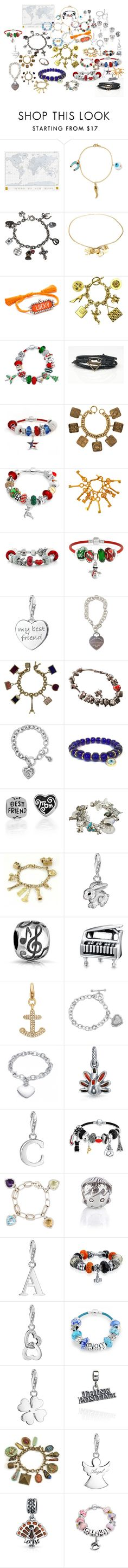 """Charm Bracelets"" by airandearth on Polyvore featuring Luckies, IaM by Ileana Makri, Sweet Romance, Chanel, Shourouk, Bling Jewelry, Thomas Sabo, Tiffany & Co., Louis Vuitton and Pandora"