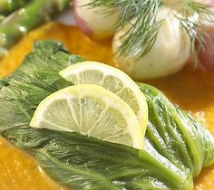 Thrifty Foods - Recipe - Lettuce Wrapped Halibut on Herb-Flecked Carrot Sauce