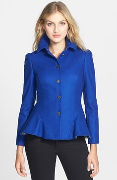 Free shipping and returns on Ted Baker London 'Bracti' Peplum Detail Wool & Cashmere Blend Jacket at Nordstrom.com. A ruffled, pleat-flared peplum softens the sharp tailoring shaping a polished cashmere-kissed jacket. Pickstitching and gleaming logo-stamped screw-head buttons detail the shapely style, while a pretty printed lining furthers the feminine appeal.