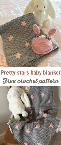 Free baby blanket crochet pattern with cute stars. Ideal for lots of color schemes. Would look great in a navy blue background with a sparkly yarn for the stars