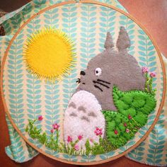 Love this portrait of Totoro! Totoro Felt and embroidery by caffeinese