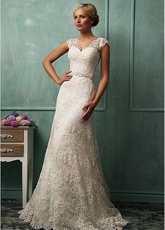 Glamorous Tulle V-neck Neckline Natural Waistline A-line Wedding Dress With Venice Lace Appliques