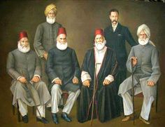 The Masters Front row from Left to Right: Nawab Waqar ul Mulk, Nawab Mohsin ul Mulk, Maulvi Nazeer Ahmad, Altaf Husain Haali, Back row from Left to Right: Shibli Nu'mani & Prof. Murree Pakistan, History Of Pakistan, Rare Photos, Old Photos, Galaxy Pictures, Past Papers, Evolution Of Fashion, Warrior Quotes, Folk Embroidery