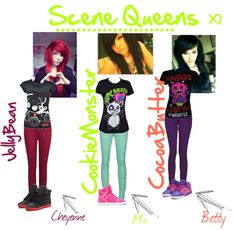 So Like I seen these pictures of scene queens and decided to cut my hair like that and so Like my friends Cheyenne, and Betty wanted it like that to. So I cut t. Scene Style, My Style, Cut My Hair, Scene Hair, Chic, Hair Styles, Style Ideas, Emo, Polyvore