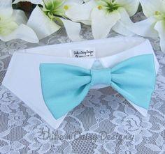 Aqua Satin Bow Tie Dog Wedding Dog Tuxedo by DukeNDaisyDesigns, $28.50