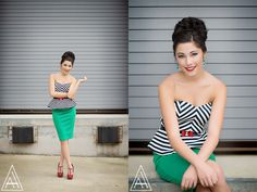 Funky & bold outfit with a red lip- CUTE! Senior Portrait Poses, Senior Girl Poses, Senior Portrait Photography, Senior Session, Photography Poses, Senior Photos Girls, Senior Girls, Girl Photos, Girl With Brown Hair