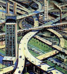 Wayne Thiebaud. Urban Freeways. 1979.♥ Inspirations, Idées & Suggestions, JesuisauJardin.fr, Atelier de paysage Paris, Stéphane Vimond Créateur de jardins ♥