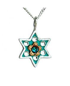 Small Turquoise Star of David Necklace - Esther Shahaf - MostOriginal.com