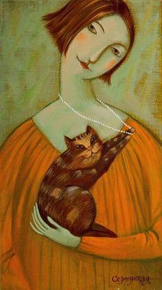 Girl with Kitten - Olesya Serzhantova Russian painter 1975-