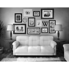 Picture Wall Living Room, Family Room Walls, Family Wall Decor, Photo Wall Decor, My Living Room, Living Room Decor, Gallery Wall Living Room Couch, How To Decorate Living Room Walls, Living Room Wall Decor Ideas Above Couch