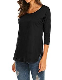 106c9bedd9b Women's Casual 3/4 sleeve Loose Tunic Tops Scoop Neck T-Shirt Women's Casual
