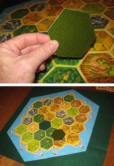 """Attaching felt to the bottom of Catan tiles and then laying down a layer of felt on the table prevents the tiles from sliding all over the place when you have a """"excited"""" roller or card exchange :D"""
