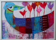 Blue bird's cap acrylic on board size 50x70cm Elke Trittel