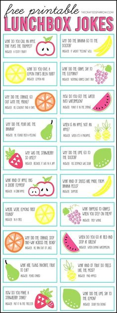 Free printable jokes to put in your kid's lunchbox and brighten their day at school. Love these cute lunchbox notes!