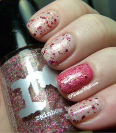Rainbow Honey - XOXO over Pure Ice - Trickle me pink and over Pure Ice - Flirt Alert on accent nail