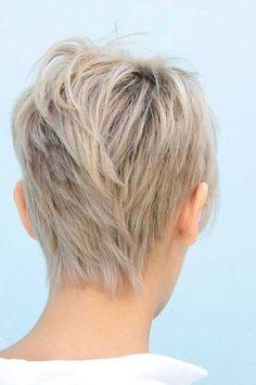 Layered Blonde Pixie Cut Back