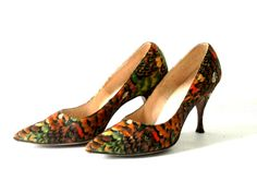 1960s Pheasant Feather Print High Heels Troylings by Spencer Troy.