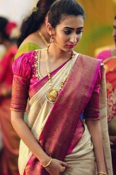 Top Latest and Trendy Blouse Designs For Saree Want to get that stylish look in Saree. Take a look at these stunning and trending blouse designs photos for ultimate style. Wedding Saree Blouse Designs, Pattu Saree Blouse Designs, Blouse Designs Silk, Designer Blouse Patterns, Blouse For Silk Saree, Latest Saree Blouse Designs, Saree Blouse Patterns, Blouse Styles, Designer Saree Blouses