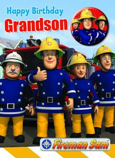 Amazon.com: Official Fireman Sam Birthday Card With Pin Button Badge - Grandson: Toys & Games