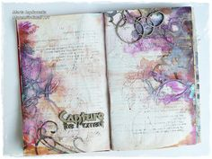 'Capture the moment' journal spread for Scrap FX Hello my creative souls :) I am back to you with my newst art journal page. I created t. Art Journal Pages, Art Journals, Junk Journal, Mixed Media Journal, Mixed Media Collage, Smash Book, Creative Journal, Creative Art, Altered Books