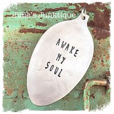 Stamped Vintage Upcycled Spoon Jewelry Pendant Charm - Music Lyrics - Mumford & Sons - Awake My Soul by JuliesJunktique on Etsy