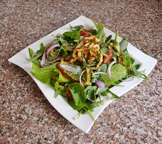 bunch of washed arugula leaves 1 red onion cut into thin slices 1 ...