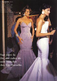 Tatjana Patitz & Linda Evangelista backstage at Guy Laroche ( mid Guy Laroche, Linda Evangelista, Tatjana Patitz, Models Backstage, Original Supermodels, 90s Models, Bustier, Mermaid Dresses, Beautiful Gowns