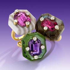 ✨✨ New York-based jewelry designer #nicholasvarney juxtaposes vibrantly-colored gemstones and diamonds with semi-precious stones to cosmically colorful effect in these three rings.  Do you admire the carved labradorite, #pinktourmaline and #diamondring?  I adore the carved #nephritejade, amethyst and diamond ring.  How about the carved #stripedagate, #california #pinktourmaline and diamond ring.  Which one is your favorite?  See more @nicholasvarneyjewels / Read more at bijouxreview.com ✨✨