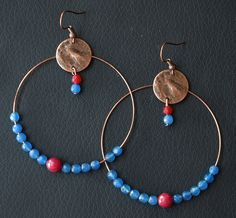 Earrings - Blue and red circles