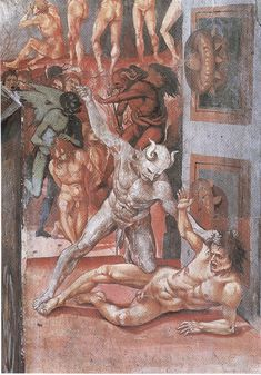 Luca Signorelli, The Damned in Hell detail, San Brizio Chapel, Orvieto, 1499 Medieval Art, Renaissance Art, Italian Renaissance, Maleficarum, Satanic Art, Les Religions, Demonology, Arte Horror, Angels And Demons