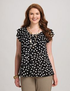 Plus Size Tiered Polka Dot Top