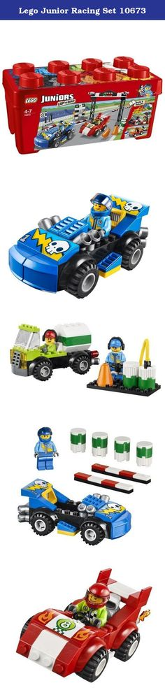 Lego Junior Racing Set 10673. Includes 2 race driver minifigures Accessories include 4 oil drums, 2 cones, a finishing flag, wrench and a megaphone Features 2 Easy to Build race cars, start/finish line, 2 barriers and a winner's stand Use the included age-appropriate building instructions to rebuild into an orange tow truck or a super-fast black racing car with finish line Comes in a sturdy and iconic LEGO container that is great for storage or travel Iconic LEGO container measures over 5...