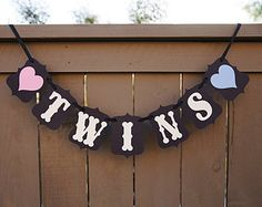 TWINS banner for Baby Showers, Maternity Session Photo Prop, Shower Banners, Sign | Black and Cream with Pink & Blue Hearts