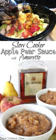 Slow Cooker Homestyle Apple Pear Sauce with Amaretto is not your grandma's traditional applesauce. Slow Cooker Apples, Slow Cooker Desserts, Cooked Apples, Slow Cooker Recipes, Crockpot Recipes, Chicken Recipes, Jam Recipes, Fruit Recipes, Apple Recipes