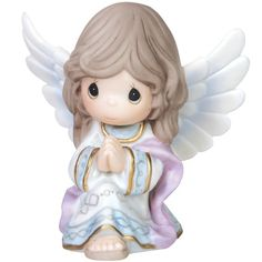 Precious Moments angels are always beautiful and this intricately detailed hand-painted porcelain figurine is no exception, just perfect as a gift for a faithful friend who collects Precious Moments Nativity sets. Porcelain Jewelry, Porcelain Ceramics, Painted Porcelain, Fine Porcelain, Porcelain Tiles, Christmas Angels, Christmas Ornaments, Christmas Nativity, Christmas Décor