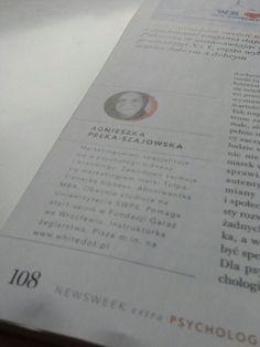 """Agnieszka ma swój artykuł w """"Newsweek extra - Psychologia""""..."""