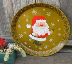 Funky mod Hallmark santa enamel metal serving tray by ClassicCrow