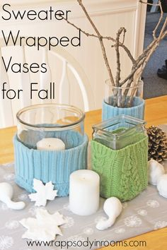 Make oh-so-cozy sweater wrapped vases for fall decor! Such an easy and quick project that reuses those old sweaters! | www.rappsodyinrooms.com