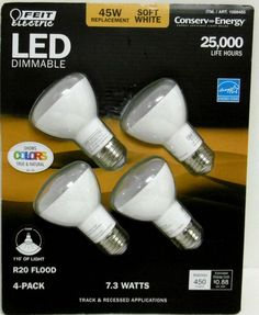 45 WATT LED FLOOD BULBS DIMMABLE 4 PACK FEIT ELECTRIC R20 Uses Only 7.3Watts B43 #FeitElectric