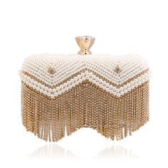 Fashion 2015 Women's Pearl Evening Bag Tassel Diamond Ring Buckle High Quality Beaded Clutches for Dinner/Party /Wedding(China (Mainland))