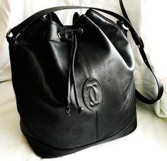 Vintage Black Leather Drawstring Bucket Shoulder Bag by MySunnyStore on Etsy