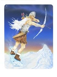 Uller (Knight of Swords) from the Snowland Tarot (Art by Ron Boyer)