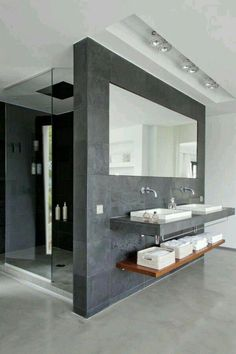 Luxury Bathroom Master Baths Walk In Shower is definitely important for your home. Whether you pick the Luxury Bathroom Master Baths Beautiful or Luxury Master Bathroom Ideas, you will make the best Small Bathroom Decorating Ideas for your own life. Minimal Bathroom, Modern Bathroom Design, Bathroom Interior Design, Small Bathroom, Bath Design, Bathroom Faucets, Masculine Bathroom, Bathroom Designs, Modern Sink