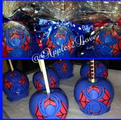 Spider man themed candy apples Chocolate Covered Apples, Caramel Apples, Caramel Dip, Carmel Candy, Gourmet Candy Apples, Postres Halloween, Chocolates, Chocolate Caramels, Covered Strawberries